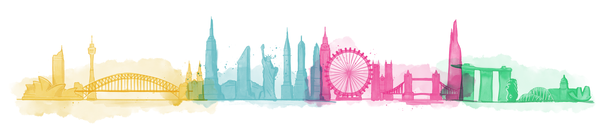 Composite image of skylines of different cities: Sydney, New York, London and Singapore.