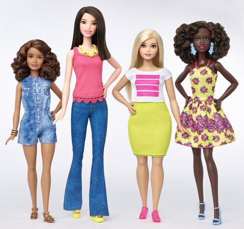 """Barbie comes in a variety of new shapes, including a """"curvy"""" model."""