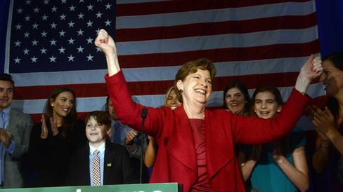 U.S. Senator Jeanne Shaheen (D-NH) celebrates with supporters at the Puritan Conference Center November 4, 2014 in Manchester, New Hampshire.