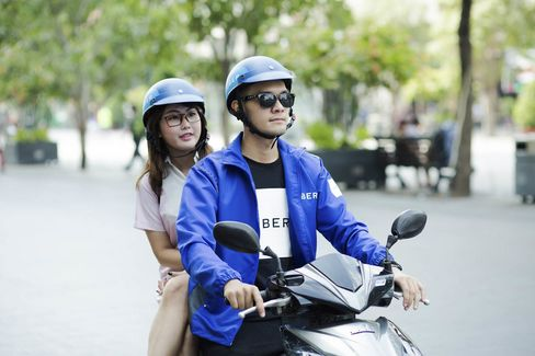 Helmets are included for UberMoto rides