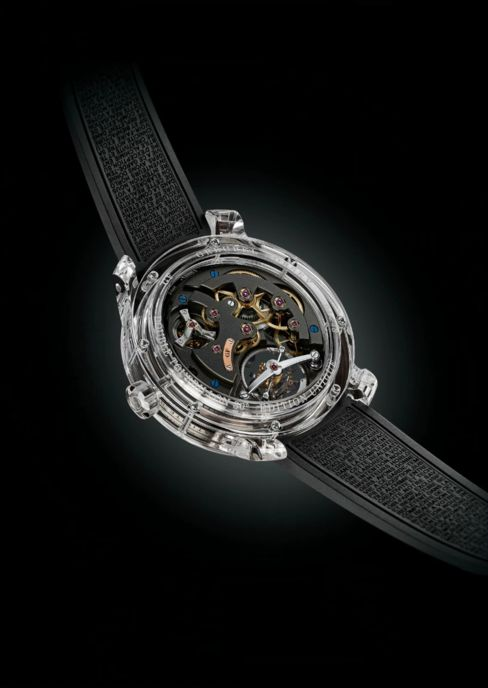 The reverse of the Double Tourbillon 30° Technique in all-sapphire.