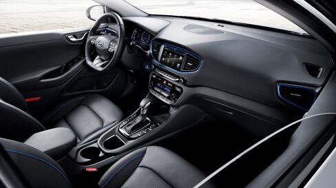 The interior of the Hyundai Ioniq hybrid vehicle.