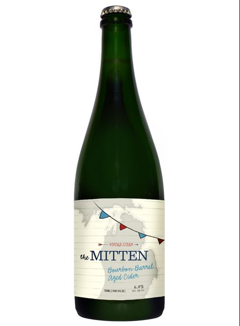 A blend of aged and new ciders, The Mitten is woodsy and dank.