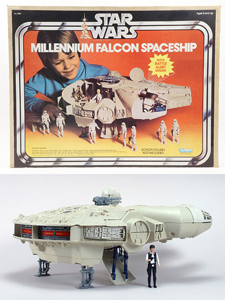 The Millennium Falcon box and toy from 1979.
