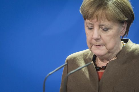 Angela Merkel speaks to the media on March 22.