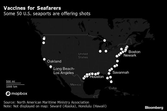 Weary Seafarers Come Ashore in U.S. for J&J One-Dose Shots