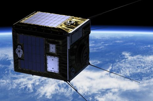 An artist's rendition of the microsatellite in low-earth orbit, carrying a payload of as many as 1,000 centimeter-sized artificial meteors.
