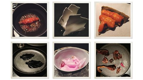 Clockwise from top left: Sweet potato simmered in raw sugar; A composition of rice; Sea urchin tart; Black garlic fruit leather; Rose petal water (for dipping cuttlefish); Carved duck.