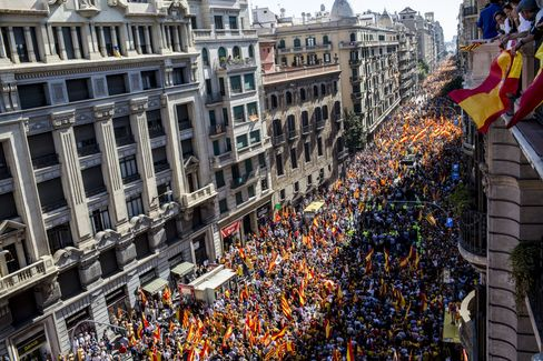 Protesters Demonstrate Against Catalan Independence