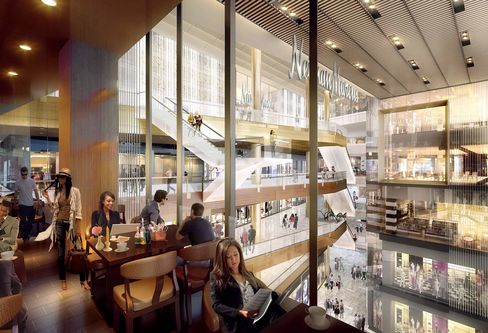 A rendering of the shops and restaurants at Hudson Yards.
