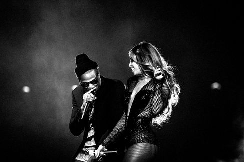Performing with Beyoncé in Miami last June, during the couple's On the Run tour.