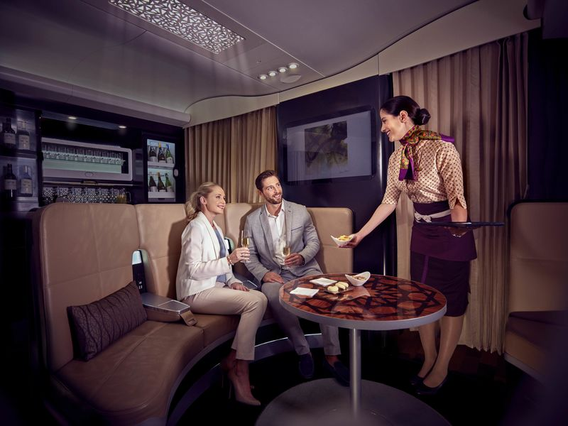 The Middle Eastern d cor on Etihad carries through to its comfortable   lounge like bar space. The Best Airplane Bars in the Skies   Bloomberg