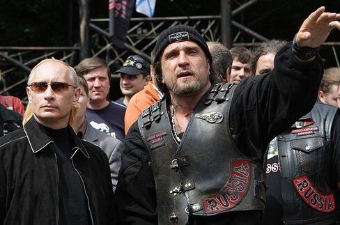 Night Wolves' Aleksandr Zaldostanov and Putin