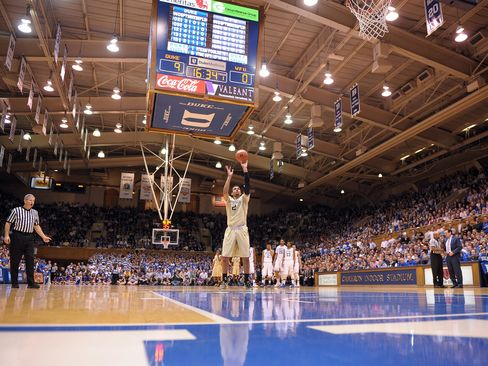 Wake Forest Demon Deacons play against the Duke Blue Devils at Cameron Indoor Stadium on March 4, 2015 in Durham, North Carolina.