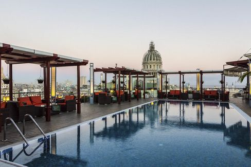 The rooftop pool—a rare amenity—at the Hotel Saratoga