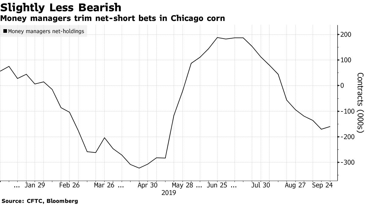 Money managers trim net-short bets in Chicago corn