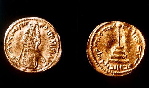 Damas, golden dinar bearing the effigy of Umayyad caliph Abd al-Malik