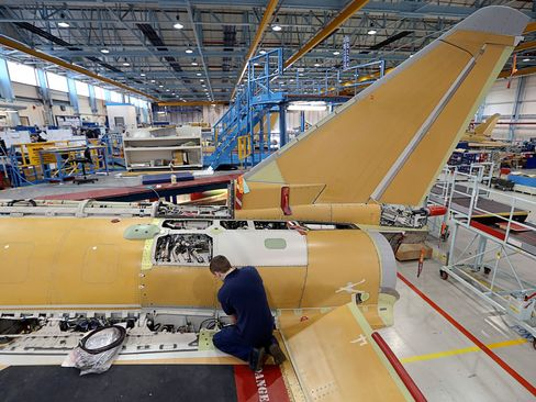 A BAE Eurofighter Typhoon jet in the final assembly hanger at the BAE Systems Plc. plant in Warton, U.K.