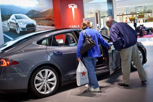 A Tesla Motors Model S Automobile Sits in Short Hills