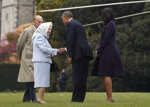 The Obamas greeted by the Queen and Duke of Edinburgh at Windsor Castle on April 22.