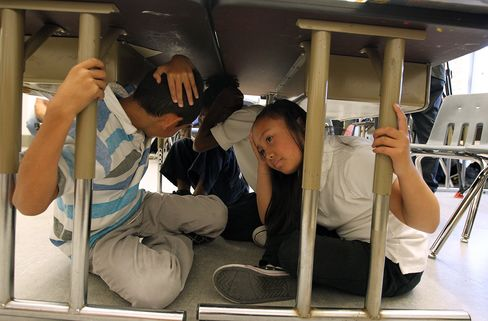 Californians Dive Under Desks in Earthquake Rehearsal