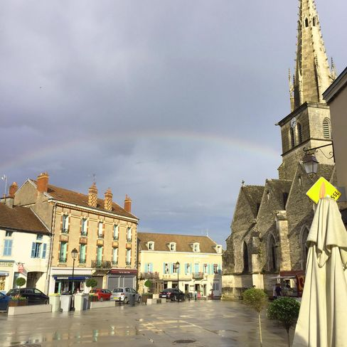 A rainbow over the picture-perfect town square in Meursault, a town known for its high quality Chardonnays.