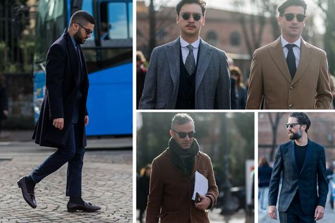 Minimally, but well-dressed, guests during Pitti Uomo 89 in Florence, Italy.