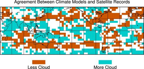 This graphic shows where the majority of climate models and the majority of satellite records agree on how cloudiness changed from the 1980s to the 2000s.