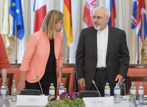 Mohammad Javad Zarif and Federica Mogherini in Vienna, Austria on July 06, 2015. Photograph: Thomas Imo/Photothek/Getty Images
