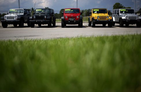 Chrysler Group LLC Jeep Wrangler vehicles are displayed for sale at the Cross Chrysler Jeep dealership in Louisville, Kentucky, U.S., on Monday, June 29, 2015. Domestic and total vehicle sales figures are scheduled to be released on July 1. Photographer: Luke Sharrett/Bloomberg