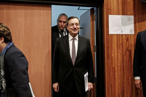 ECB President Mario Draghi leaves after attending a news conference in Nicosia, Cyprus, on March 5, 2015.