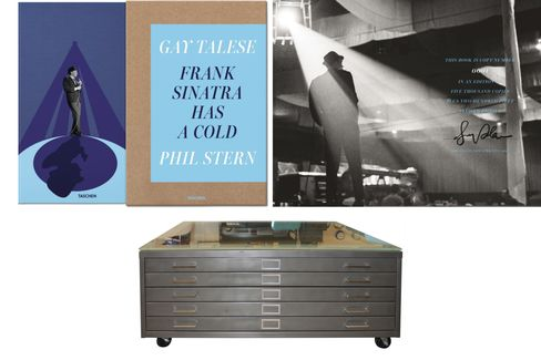 Pictured: A quiet shot of Sinatra by photographer Phil Stern, signed by writer Gay Talese (top); asteel flat file converted into a smart coffee table.