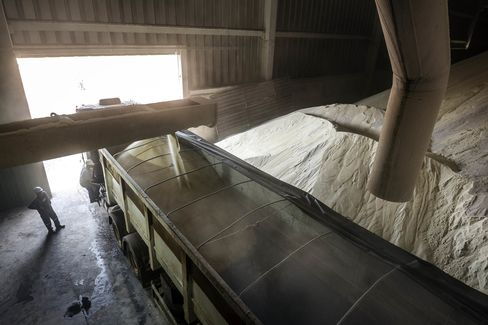 A truck is loaded with sugar in a warehouse. Sales of hydrous ethanol by fuel distributors in the last three months rose 10 percent from a year earlier, while sales of gasoline shrank 9.3 percent.