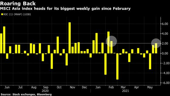 Asia Stocks Poised for Best Weekly Advance in Three Months