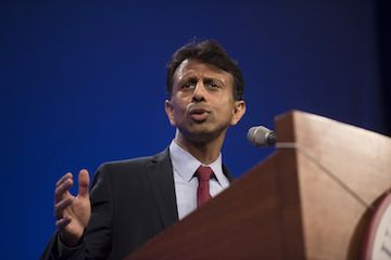Bobby Jindal, governor of Louisiana, speaks during the Republican Party of Iowa's Lincoln Dinner in Des Moines, Iowa, U.S., on Saturday, May 16, 2015. Several current and potential candidates for U.S. president will speak during the dinner, hosted by the Republican Party of Iowa. Photographer: Daniel Acker/Bloomberg *** Local Caption *** Bobby Jindal