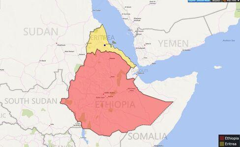 MAP: Ethiopia and Eritrea