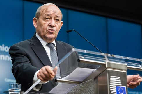 rance's Defense Minister Jean-Yves Le Drian addresses the media during an EU foreign and defense ministers meeting at the EU Council building in Brussels on Tuesday, Nov. 17, 2015.