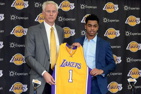 Lakers GM Mitch Kupchak & D'Angelo Russell