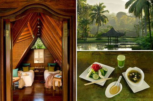 Clockwise from top left: a Sulu Terrace bedroom; the lush landscape; a transition diet.
