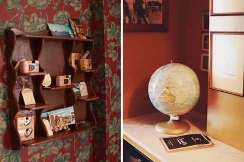 "The ""Traveling Twins"" room has a vintage globetrotter feel. ""The whole point is to create a very specific vibe,"" says Kaplan, ""to continue the revelry as an extension of leaving the bar downstairs."""