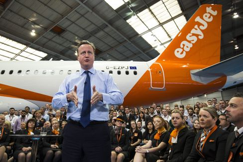 Cameron speaks at EasyJet on May 24.