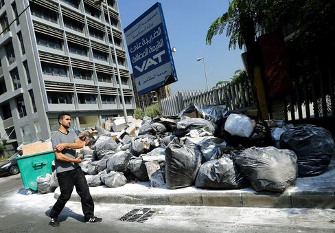 Refuse bags are piled up on a street in the Lebanese capital, Beirut.