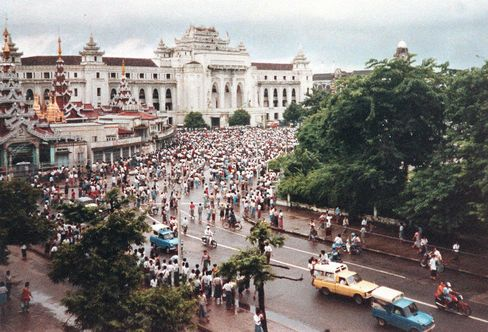 Demonstrators gather in Rangoon, later known as Yangon, to protest against the government on Aug. 6, 1988.