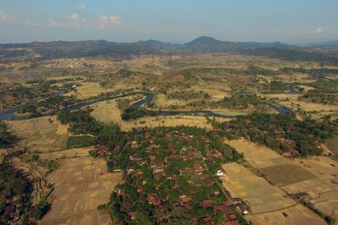 Cipaku village and rice fields in West Java.