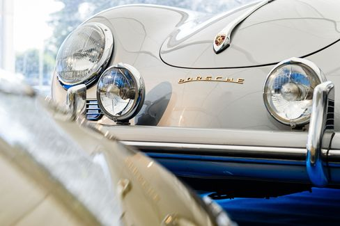 "A detail shot of a 1956 Porsche 356 Carrera Coupe Grand Sport that was available during the ""Porsche Classics at the Castle"" event at Hedingham Castle, east of London on September 6, 2015. The event is a chance for Porsche enthusiasts to display and enjoy cars from the German manufacturer before getting the chance to bid on over 60 classic cars at the largest auction of it's kind in the world."