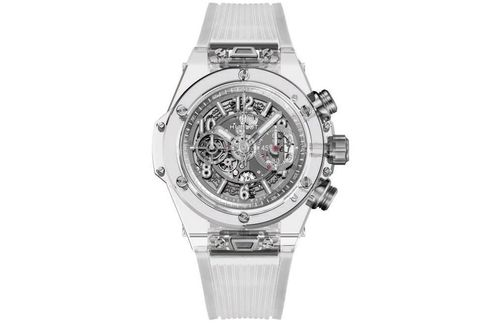 The Big Bang Unico Sapphire lets you admire Hublot's in-house movement through the transparent case.