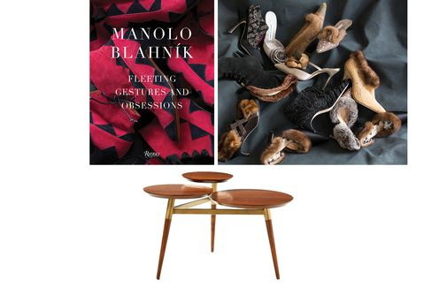 Pictured: Manolo Blahnik's embellished, fur-trimmed heels (top); aclover-shaped coffee table by West Elm (bottom).