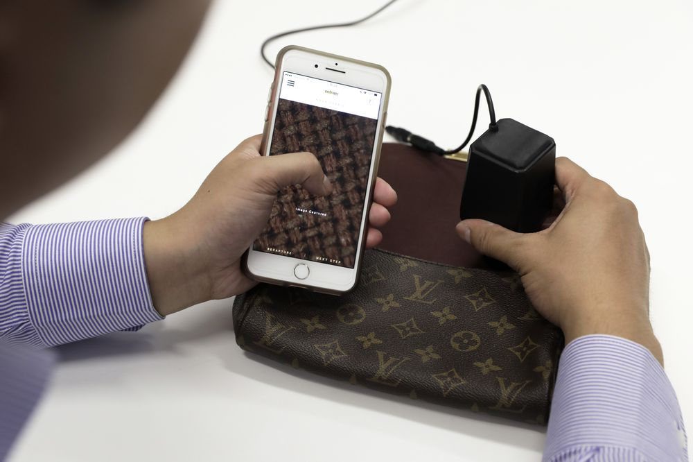 7b5fbd80cc6 Entrupy Inc. Device And CEO And Co-Founder Vidyuth Srinivasan Interview.  Authenticating a Louis Vuitton handbag ...