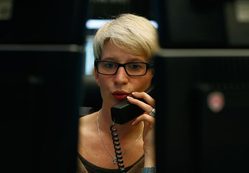 A Financial Trader Works at the Frankfurt Stock Exchange