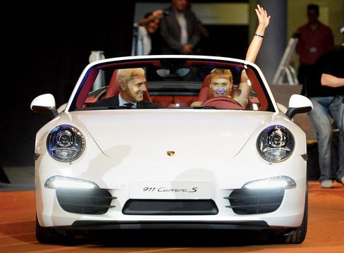Driving a Porsche after winning the WTA Porsche Tennis Grand Prix, 2012.